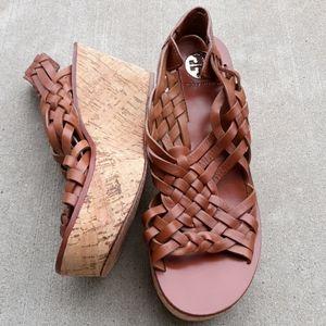 Tory Burch 8.5 Killian Woven Cork Wedge Sandals
